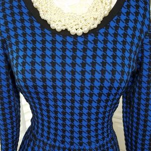 Blue and Black Houndstooth Sweater Dress